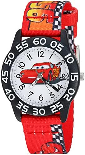 Disney Boy's 'Cars' Quartz Plastic and Nylon Casual Watch, Color:Red (Model: WDS000124)